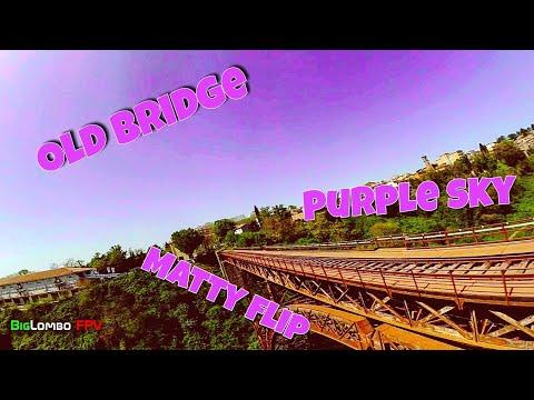 Old bridge, purple sky and matty flip   fpv freestyle   racing drone