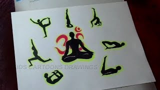 How to Draw Yoga Meditation Poster Drawing for Kids