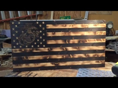 DIY Wooden Rustic American Marine Flag