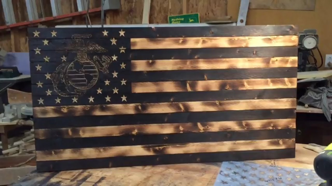 Diy Wooden Rustic American Marine Flag Youtube
