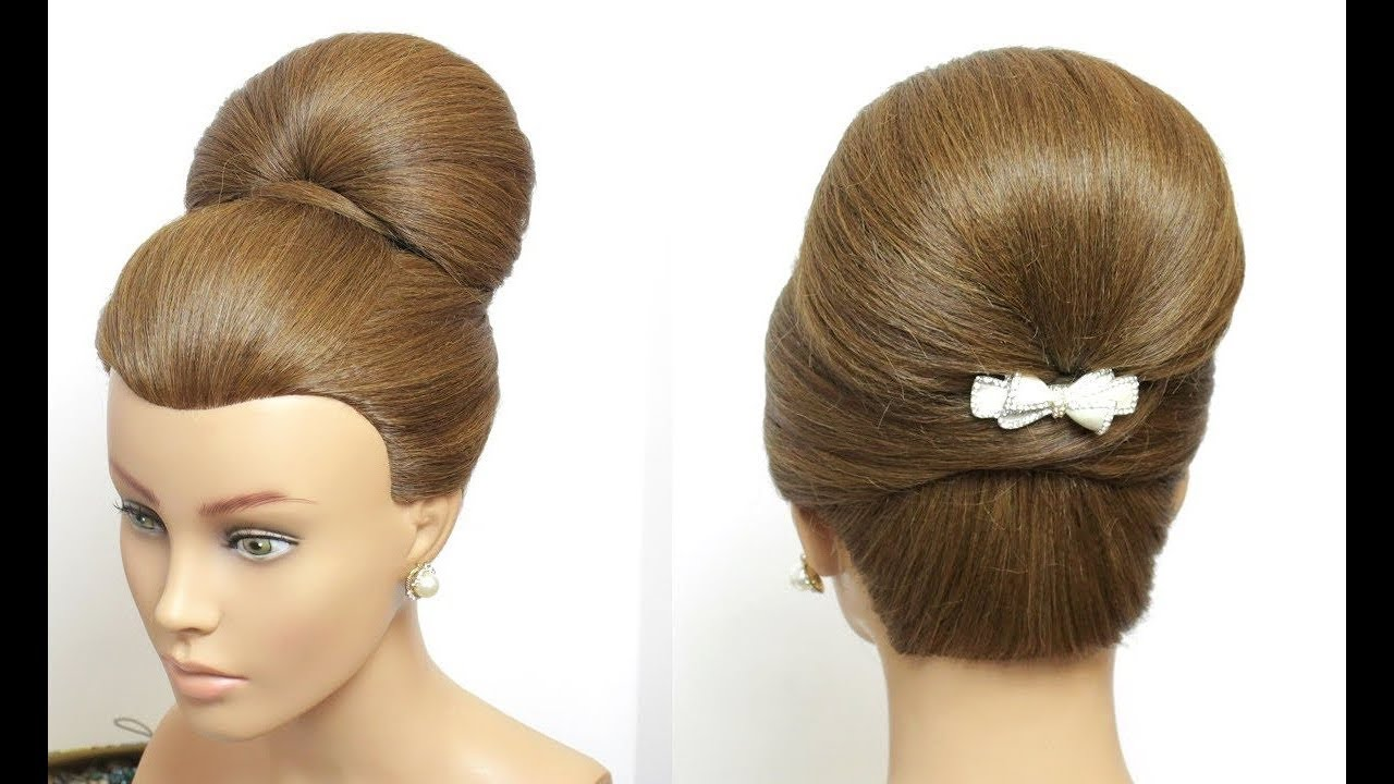 High Bun Updo. Bridal Prom Hairstyle For Long Hair Tutorial - YouTube