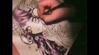 Coloring hair with colored pencils