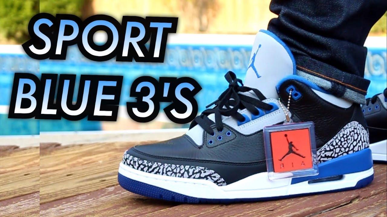 Air Jordan 3 Bleu Sport Sur Les Pieds