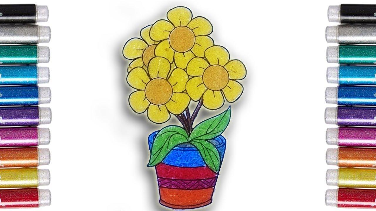 Coloring Flowers Mewarnai Bunga Matahari Dengan Crayon Untuk Anak Youtube