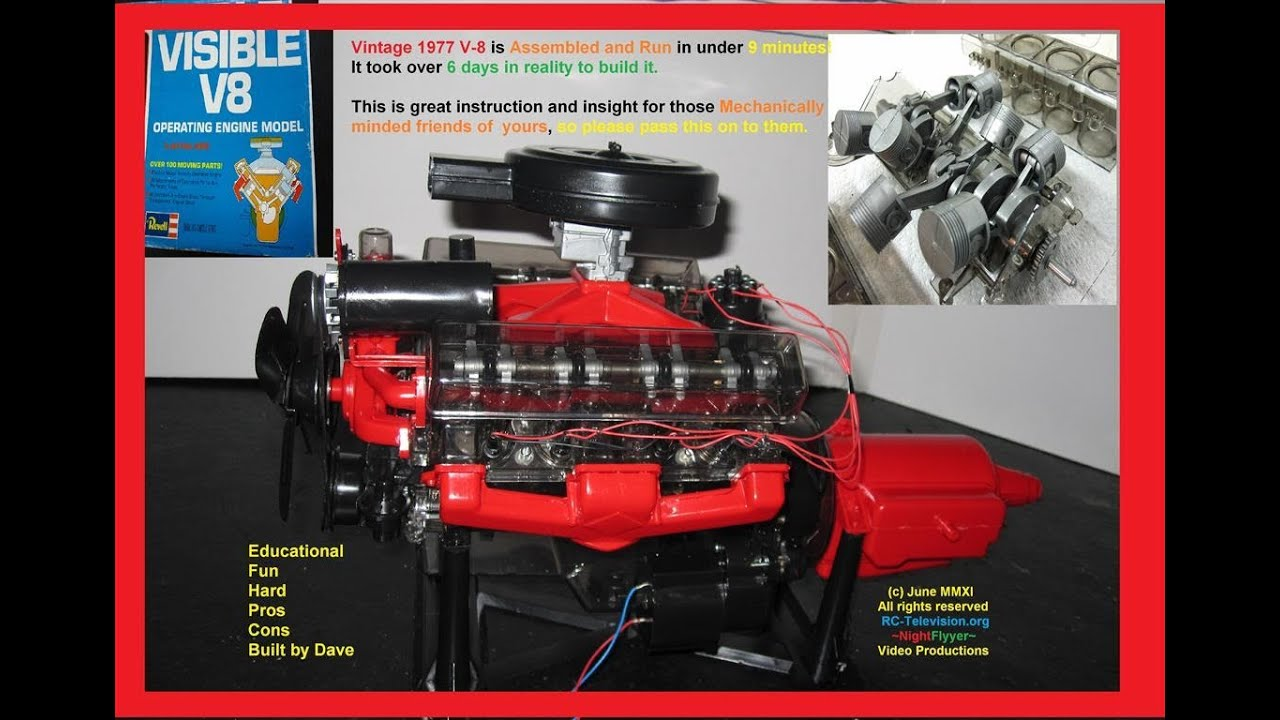 Vintage 1977 Revell Visible V-8 ENGINE BUILD. Electric Starter and ...