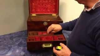 19th Century Large Flame Mahogany Jewellery Box