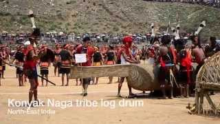 Konyak Naga tribe musical instrument Log drum in North East India.