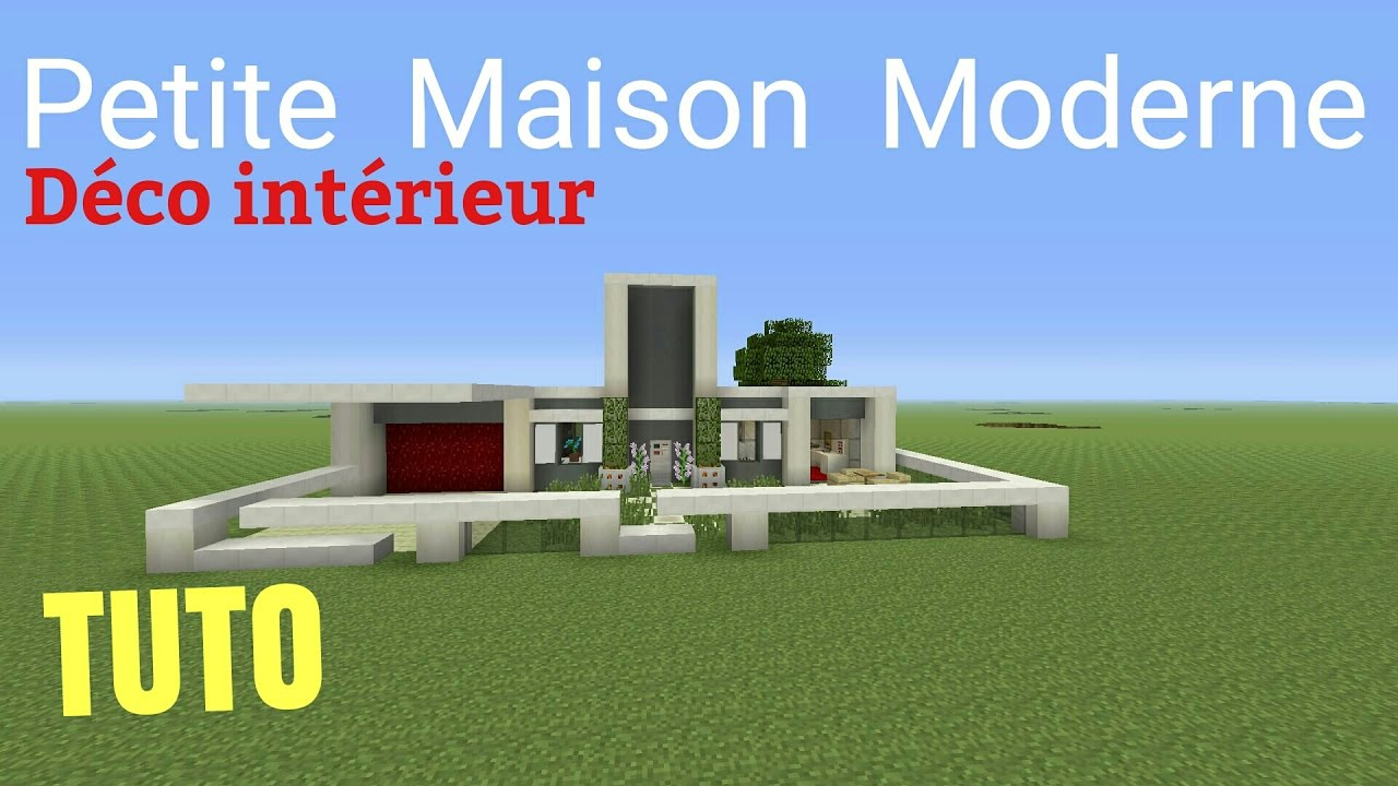 Tuto minecraft petite maison moderne d co int rieur ps4 for Deco maison moderne youtube