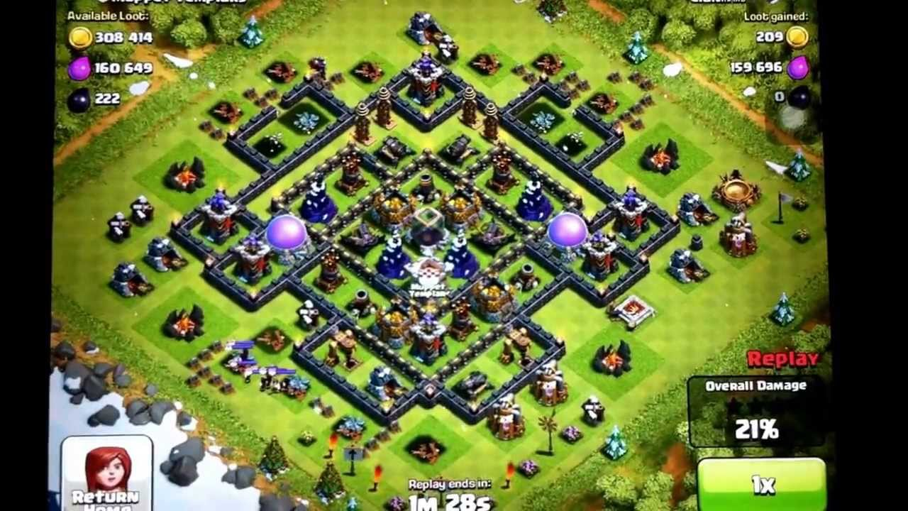 Defending and farming base for town hall 9 youtube