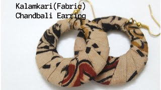 Gambar cover how to make Kalamkari chandbali earrings|Fabric chandbali earrings|Chandbali wrapping with fabric