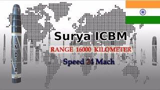 Surya (ICBM) range 16000 km