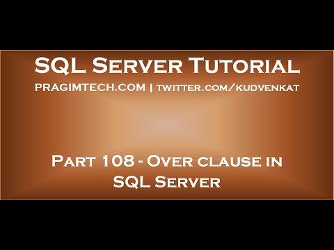 Over clause in SQL Server