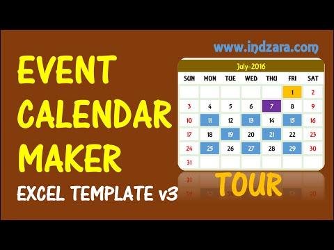 Event Calendar Maker - Excel Template - V3 - Tour