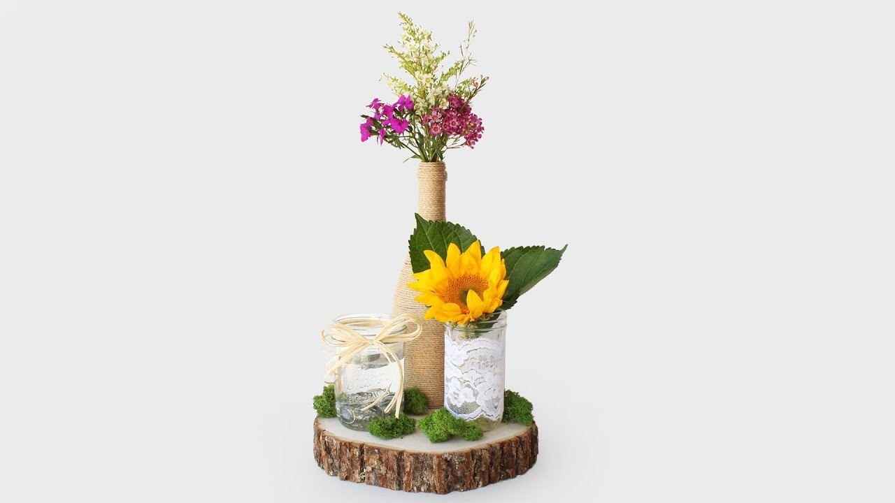DIY Rustic Wedding Centerpiece - YouTube