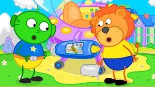 Lion Family Alien broke UFO Cartoon for Kids