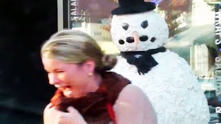 Amazing Reactions Scary Snowman 2013Hidden Camera Practical Joke Compilation