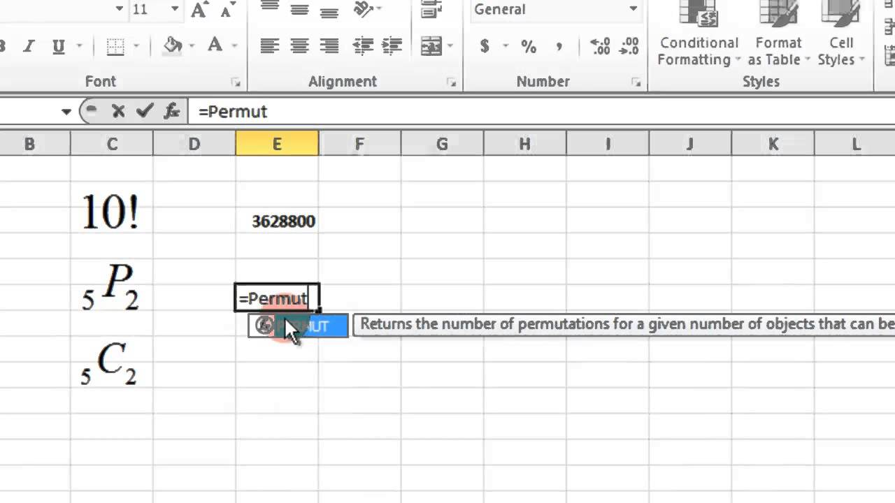 Excel Factorial Permutation And Combination Youtube