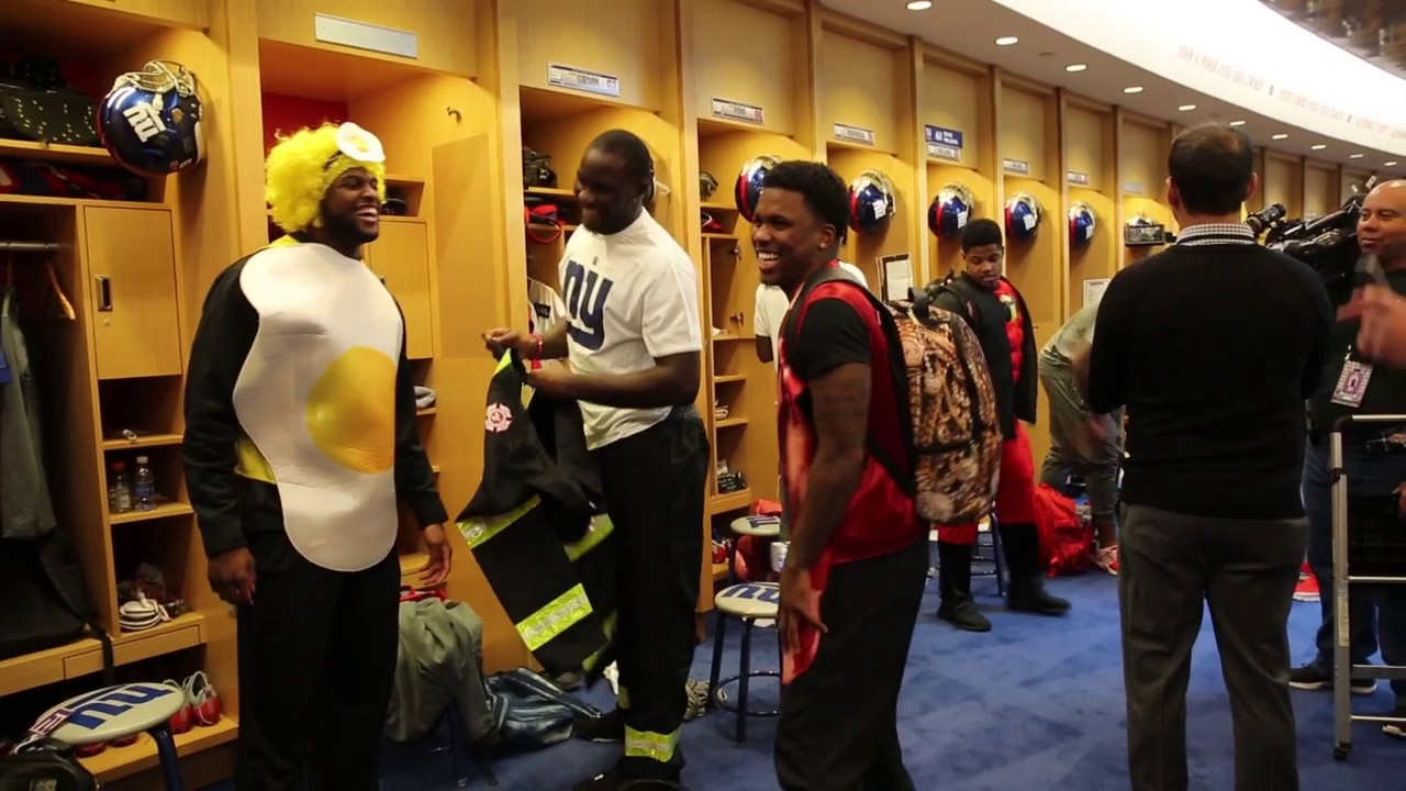 NY Giants rookies put on Halloween costumes for charity & NY Giants rookies put on Halloween costumes for charity - YouTube