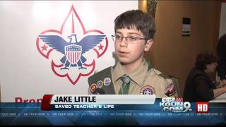 Boy Scout saves teacher's life