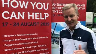 Jeremy Kyle promoting The World Transplant Games 2019
