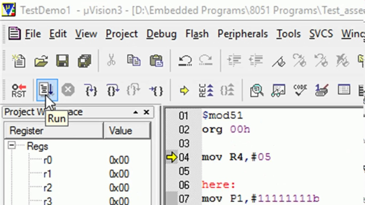 Keil uVision Tutorial on How To Create and Run Assembly & C Programs