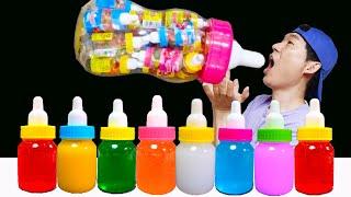 Mukbang 컬러 보틀 캔디 젤리 먹방 Bottle candy jelly Mukbang JJAEMI 째미먹방 Big Color Milk Bottle