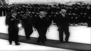 Nikita Khrushchev and Dwight D. Eisenhower arrive in Paris, France for the Four P...HD Stock Footage