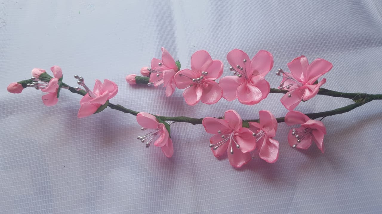 cara membuat bunga sakura dari pita satin - YouTube 97681f4c13