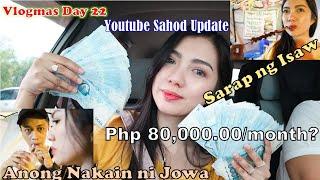 Vlogmas Day 22 - Youtube Sahod Update + Foodtrip