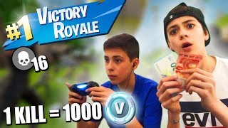 1 KILL = 1000 V-BUCKS FOR MY BROTHER! (FORTNITE: BATTLE ROYALE)