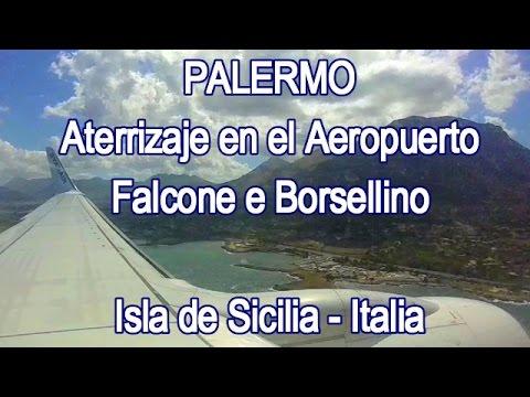 Aterrizaje en el Aeropuerto de Palermo, Sicilia - Italia. Landing in Palermo Airport