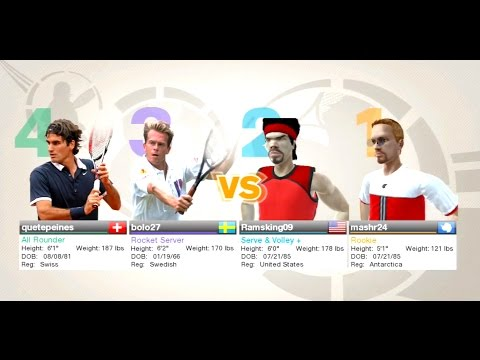 Virtua Tennis 2009 Doubles live play Amazing match #3