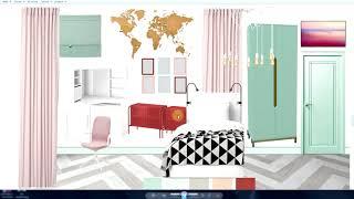Дизайн интерьера. Консультация. Маленькая, узкая спальня. Коллаж. Полы.