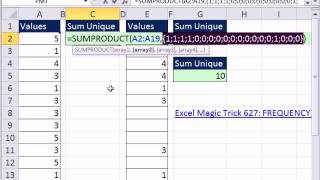 Excel Magic Trick 851: Formula To Sum Unique Values In Column
