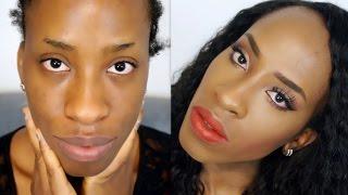 Peach Eyes And Orange Lips Makeup Tutorial For Black Women