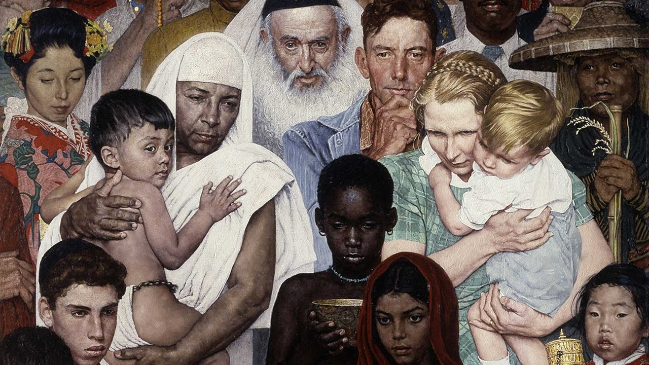 Norman rockwell paintings in song golden rule youtube for Golden rule painting