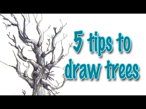 how to draw a road with trees
