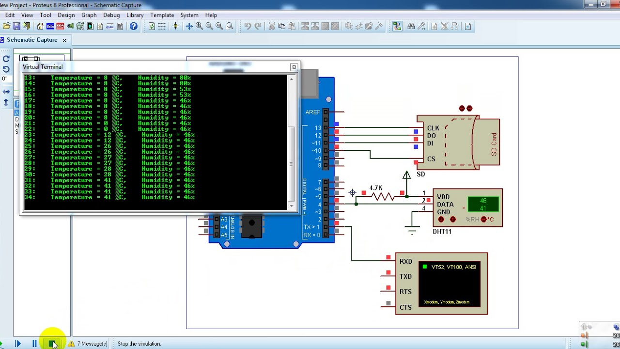Arduino Data Logger With Sd Card And Dht11 Sensor - Proteus Simulation