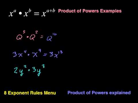 Product Of Powers Examples 8 Exponent Rules Series Youtube