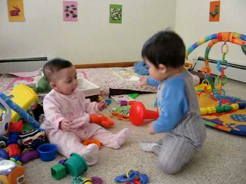 The babies playing together - YouTube