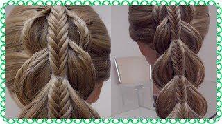 Коса на косе с резиночками, декорированная косичками. Видео-урок. Hair tutorial