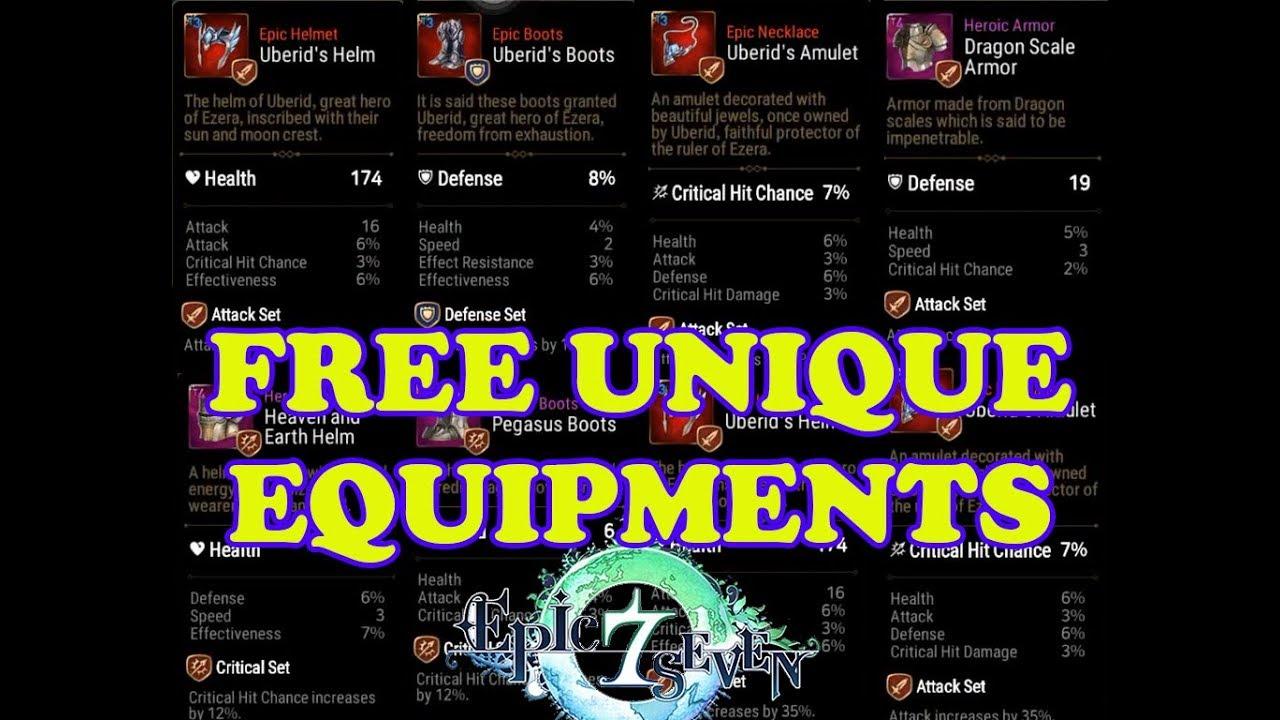 Epic Seven Free Unique Equipments Youtube