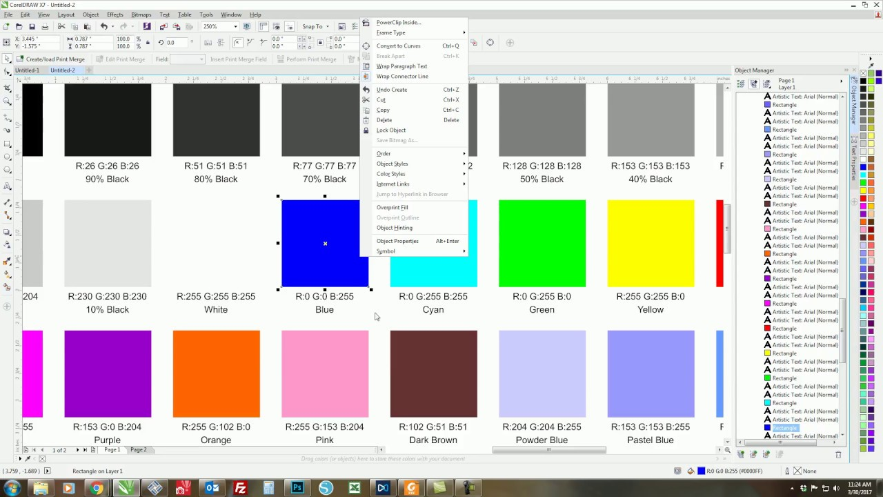 How To Use Coreldraw To Build A Color Swatch Chart Youtube
