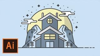 Illustrator Tutorial - Snow Cabin Mountain Flat Design (Illustrator Flat Design Tutorial)