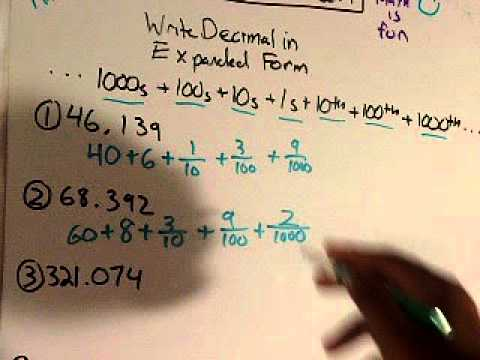 expanded form using fractions or decimals  Write Decimals In Expanded Form