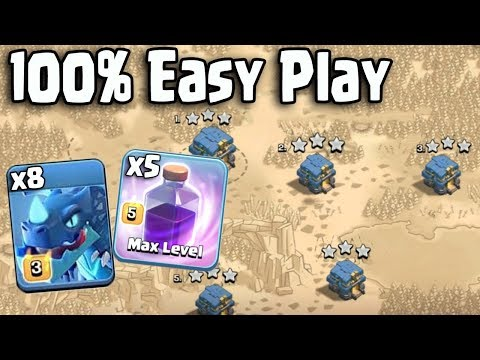 100% Easy Play 8 Max Electro Dragon 5 Max Rage Spell 16 Max Balloon Destroy 3Star Any TH12 War Bases