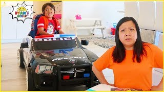 Ryan Police Pretend Play and late going to School!!!!