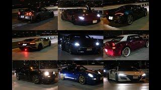 辰巳第一PAにて改造車・スーパーカーたちによる加速サウンド 中には警...