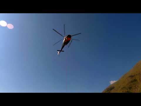 helicopter at Aranonera expedition 2018