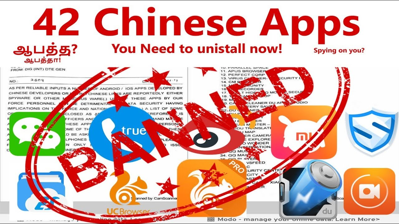 42 Chinese Apps you need to uninstall now as per Govt!(Tamil ...
